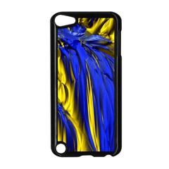 Blue And Gold Fractal Lava Apple Ipod Touch 5 Case (black) by Simbadda