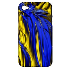 Blue And Gold Fractal Lava Apple Iphone 4/4s Hardshell Case (pc+silicone) by Simbadda