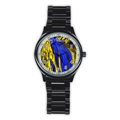 Blue And Gold Fractal Lava Stainless Steel Round Watch by Simbadda