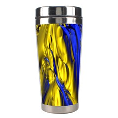 Blue And Gold Fractal Lava Stainless Steel Travel Tumblers by Simbadda