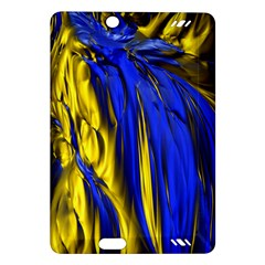 Blue And Gold Fractal Lava Amazon Kindle Fire Hd (2013) Hardshell Case by Simbadda