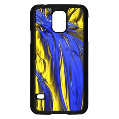 Blue And Gold Fractal Lava Samsung Galaxy S5 Case (black) by Simbadda