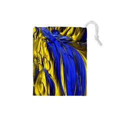 Blue And Gold Fractal Lava Drawstring Pouches (small)  by Simbadda