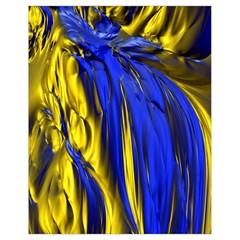 Blue And Gold Fractal Lava Drawstring Bag (small) by Simbadda