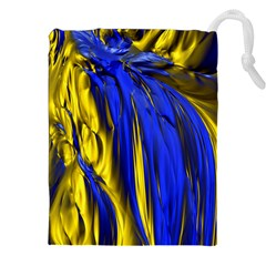 Blue And Gold Fractal Lava Drawstring Pouches (xxl) by Simbadda