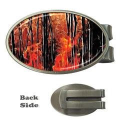 Forest Fire Fractal Background Money Clips (oval)  by Simbadda