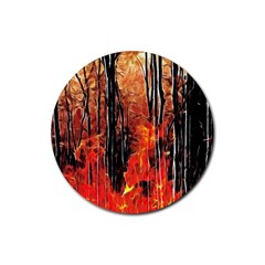 Forest Fire Fractal Background Rubber Coaster (round)  by Simbadda