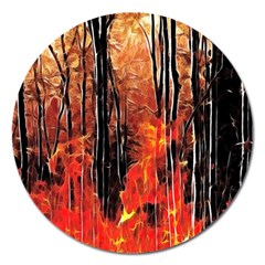 Forest Fire Fractal Background Magnet 5  (round) by Simbadda