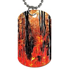 Forest Fire Fractal Background Dog Tag (two Sides) by Simbadda