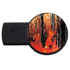 Forest Fire Fractal Background Usb Flash Drive Round (4 Gb)