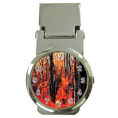 Forest Fire Fractal Background Money Clip Watches by Simbadda