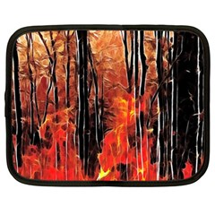 Forest Fire Fractal Background Netbook Case (xl)  by Simbadda
