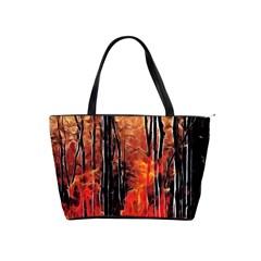 Forest Fire Fractal Background Shoulder Handbags by Simbadda