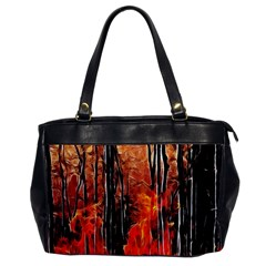 Forest Fire Fractal Background Office Handbags by Simbadda