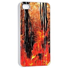 Forest Fire Fractal Background Apple Iphone 4/4s Seamless Case (white) by Simbadda