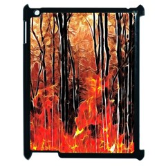 Forest Fire Fractal Background Apple Ipad 2 Case (black) by Simbadda