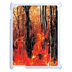 Forest Fire Fractal Background Apple Ipad 2 Case (white) by Simbadda