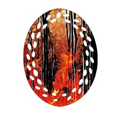 Forest Fire Fractal Background Oval Filigree Ornament (two Sides) by Simbadda