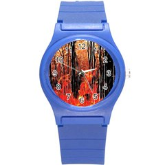 Forest Fire Fractal Background Round Plastic Sport Watch (s) by Simbadda