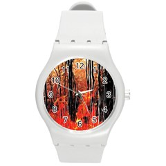 Forest Fire Fractal Background Round Plastic Sport Watch (m) by Simbadda