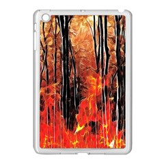 Forest Fire Fractal Background Apple Ipad Mini Case (white) by Simbadda