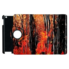 Forest Fire Fractal Background Apple Ipad 3/4 Flip 360 Case by Simbadda