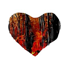 Forest Fire Fractal Background Standard 16  Premium Heart Shape Cushions by Simbadda