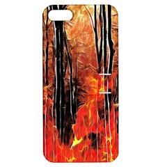 Forest Fire Fractal Background Apple Iphone 5 Hardshell Case With Stand by Simbadda