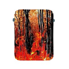 Forest Fire Fractal Background Apple Ipad 2/3/4 Protective Soft Cases by Simbadda