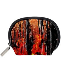 Forest Fire Fractal Background Accessory Pouches (small)  by Simbadda