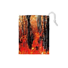 Forest Fire Fractal Background Drawstring Pouches (small)  by Simbadda