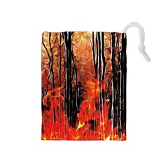 Forest Fire Fractal Background Drawstring Pouches (medium)  by Simbadda