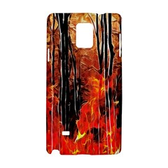 Forest Fire Fractal Background Samsung Galaxy Note 4 Hardshell Case by Simbadda