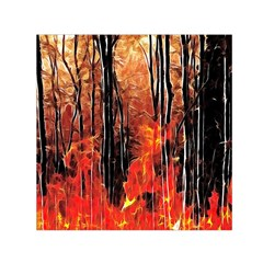 Forest Fire Fractal Background Small Satin Scarf (square) by Simbadda