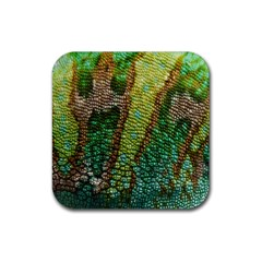 Colorful Chameleon Skin Texture Rubber Coaster (square)  by Simbadda