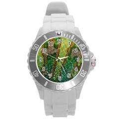 Colorful Chameleon Skin Texture Round Plastic Sport Watch (l) by Simbadda