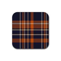 Tartan Background Fabric Design Pattern Rubber Square Coaster (4 Pack)  by Simbadda