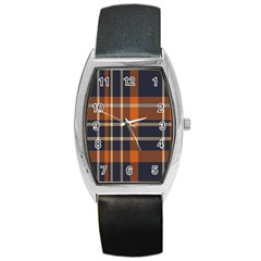 Tartan Background Fabric Design Pattern Barrel Style Metal Watch by Simbadda