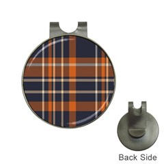 Tartan Background Fabric Design Pattern Hat Clips With Golf Markers by Simbadda
