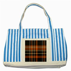 Tartan Background Fabric Design Pattern Striped Blue Tote Bag by Simbadda