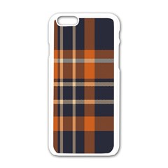 Tartan Background Fabric Design Pattern Apple Iphone 6/6s White Enamel Case by Simbadda