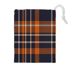 Tartan Background Fabric Design Pattern Drawstring Pouches (extra Large) by Simbadda