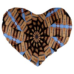 Manipulated Reality Of A Building Picture Large 19  Premium Heart Shape Cushions by Simbadda