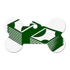 Rich Dollar Money Green Dog Tag Bone (two Sides) by Alisyart