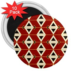 Triangle Arrow Plaid Red 3  Magnets (10 Pack)  by Alisyart