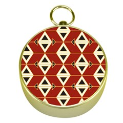 Triangle Arrow Plaid Red Gold Compasses by Alisyart