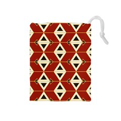 Triangle Arrow Plaid Red Drawstring Pouches (medium)  by Alisyart