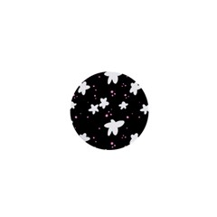 Square Pattern Black Big Flower Floral Pink White Star 1  Mini Buttons by Alisyart