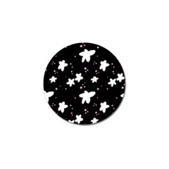 Square Pattern Black Big Flower Floral Pink White Star Golf Ball Marker (4 Pack) by Alisyart