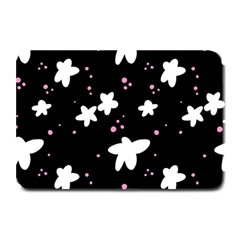 Square Pattern Black Big Flower Floral Pink White Star Plate Mats by Alisyart
